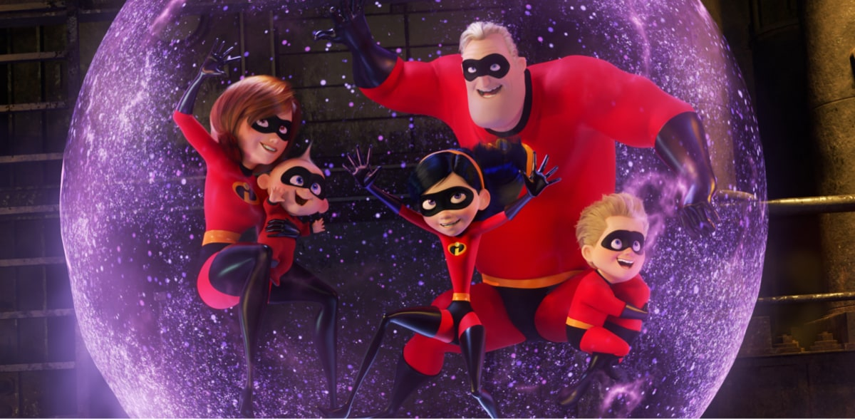 Mr. Incredible, Elastigirl, Jack-Jack, Violet and Dash inside Violet's force-field