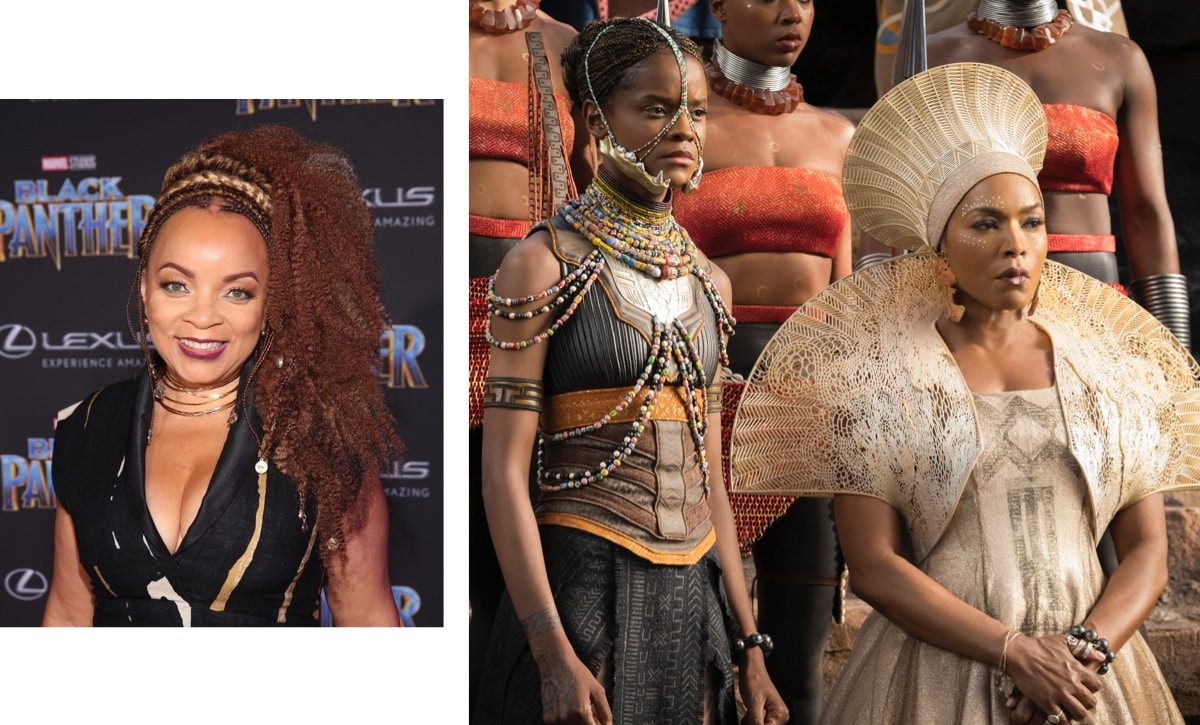 Close-up of Ruth E. Carter and a close-up of Shuri and Ramonda in Black Panther