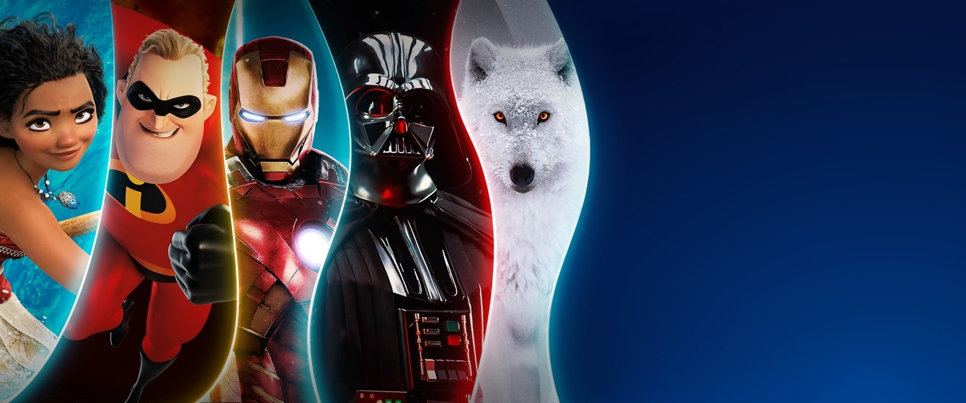 An image of the five brands coming to Disney+