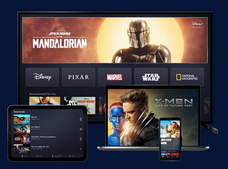 Disney Plus service showing the Mandalorian, X-men and Ice age