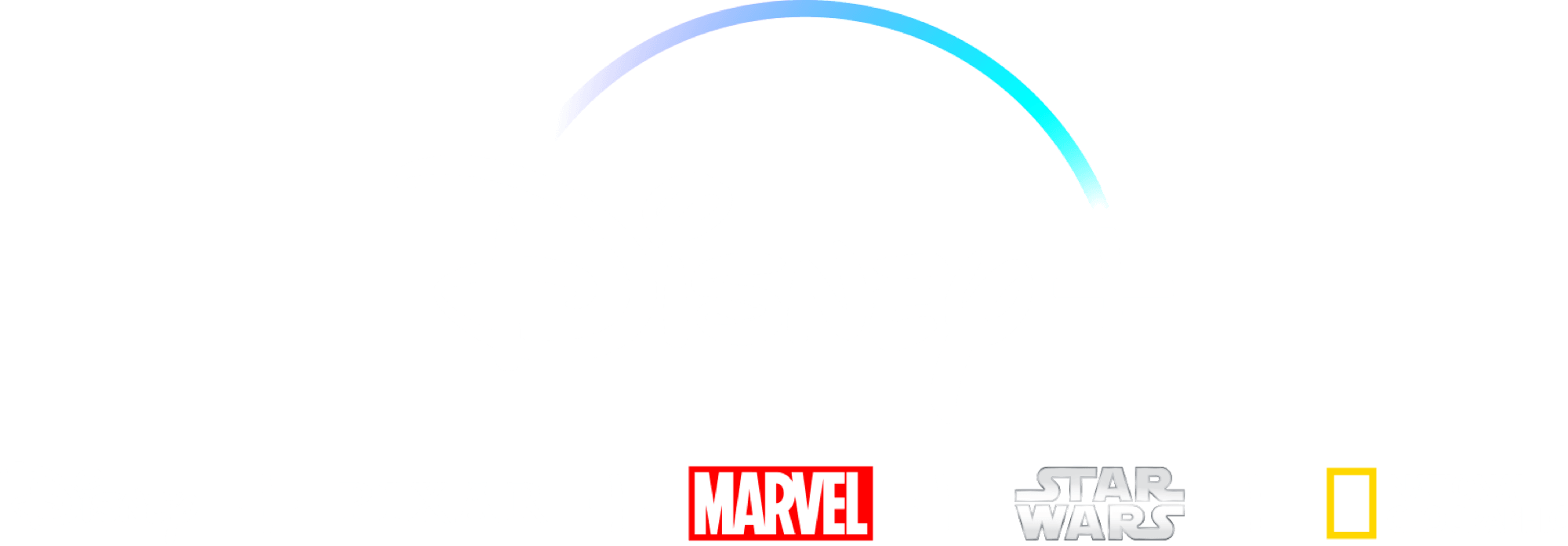 Disney+ logo med Disney, Pixar, Marvel, Star Wars og National Geographic logoer nedenunder