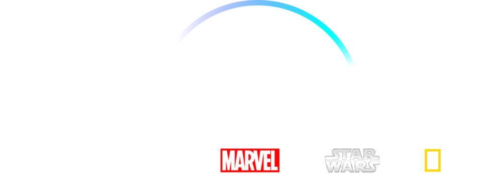 Logotipos de Disney, Pixar, Marvel, Star Wars y National Geographic debajo del logotipo de Disney+