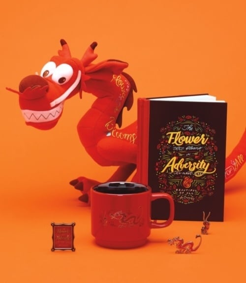 Disney Wisdom Mushu Collection of toys, notebooks, mugs and pins