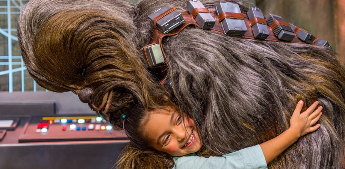 Chewbacca hugging a young guest