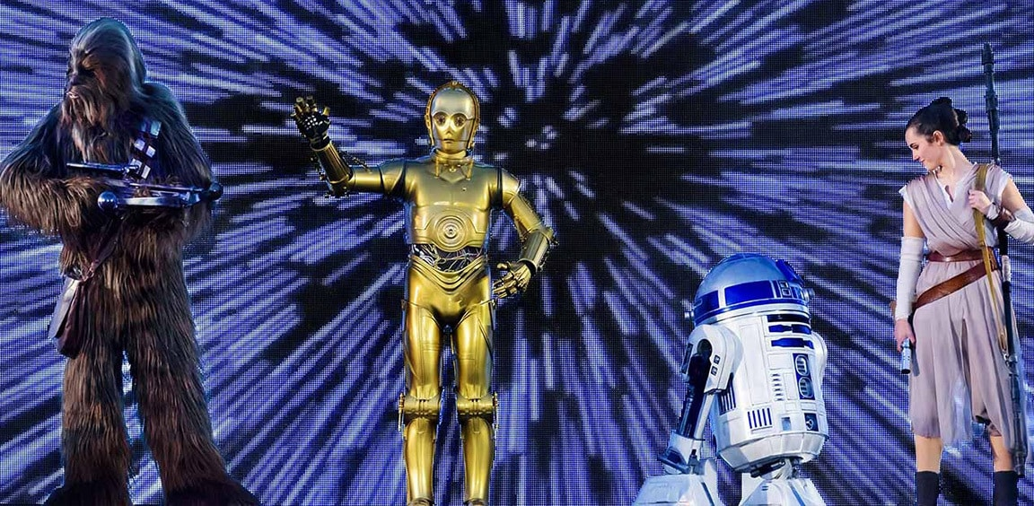 Chewbacca, C-3PO, R2-D2 and Rey in-front of a screen display of lightspeed
