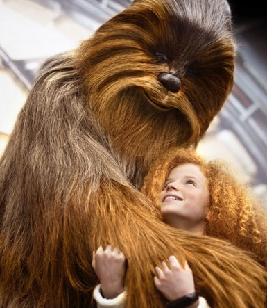 Chewbacca hugging a child