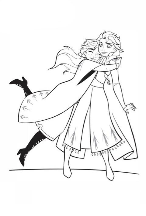 Frozen 2 - Anna and Elsa Colouring Sheet PDF