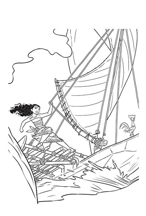 Moana sailing her boat activity sheet