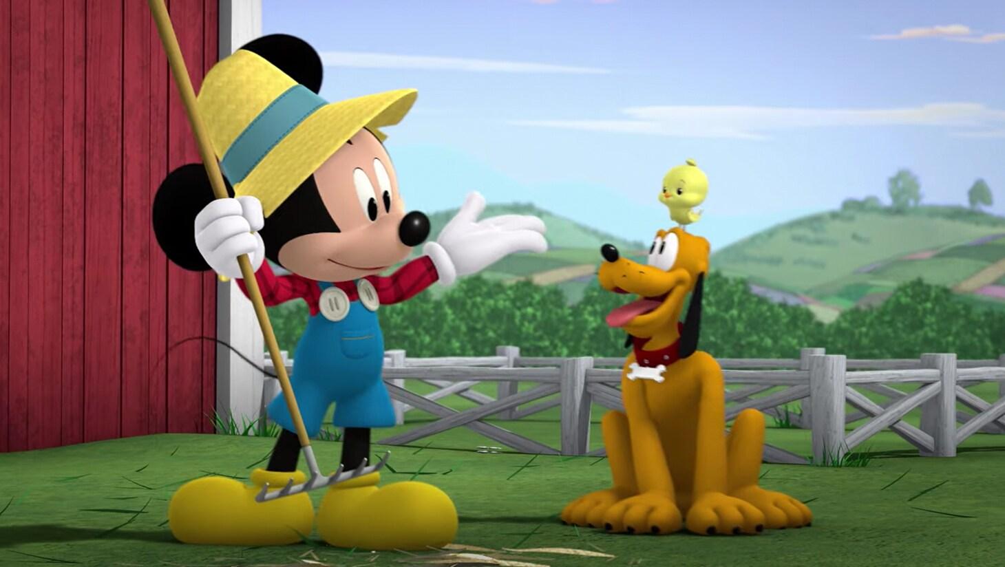 Mickey and Pluto on a farm