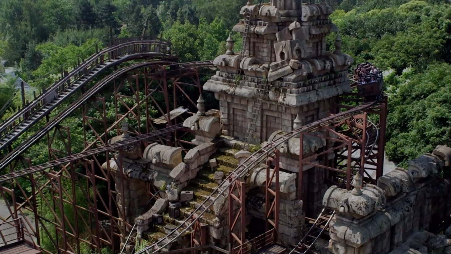 An aerial shot of Indiana Jones and the Temple of Peril