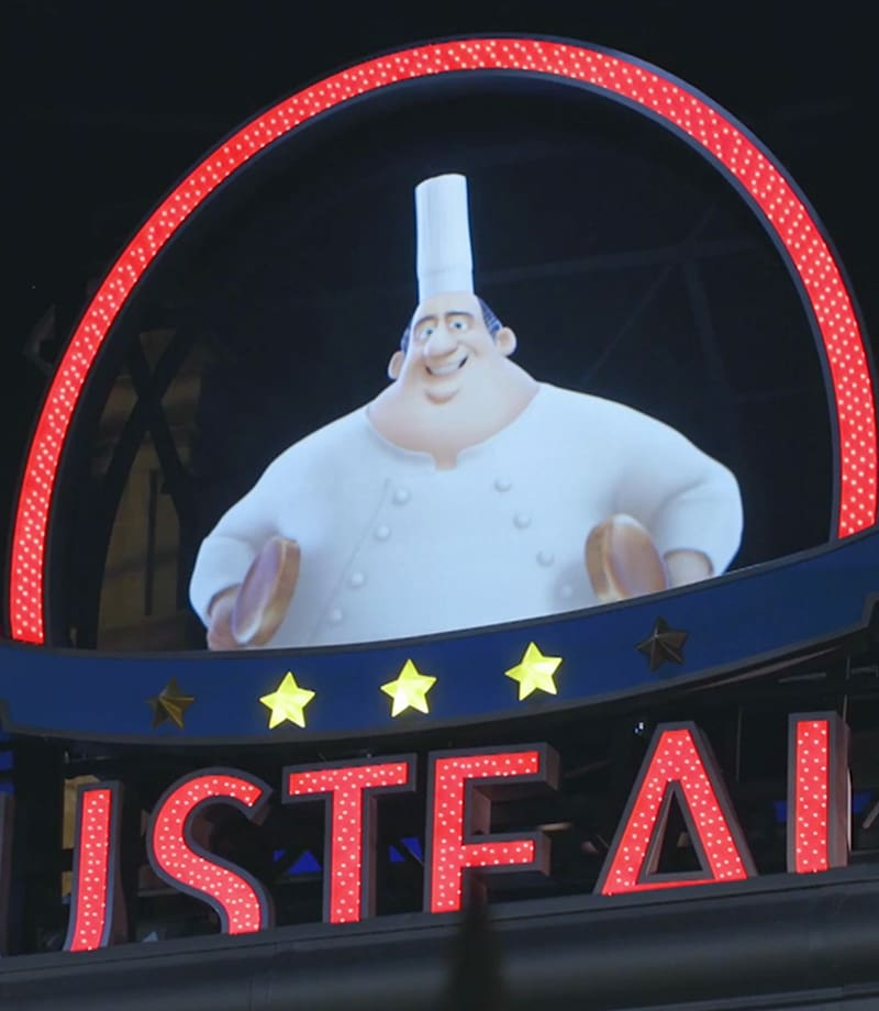 A shot from the Ratatouille ride
