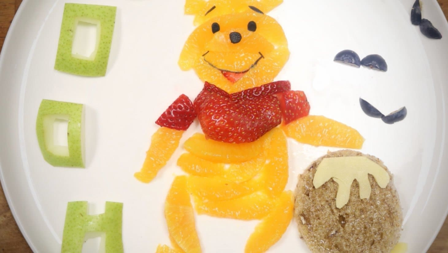 Winnie the Pooh made out of fruit