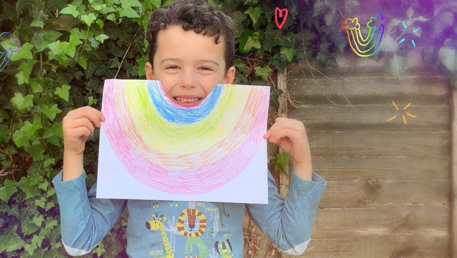 A child holding a rainbow