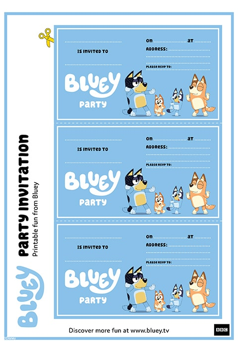 Bluey and Family party invitation