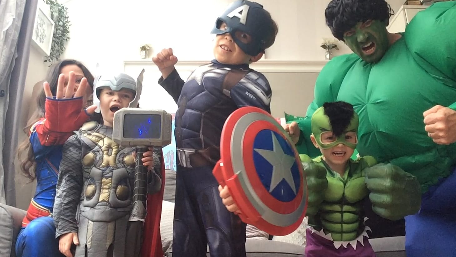 A family dressed as the Avengers