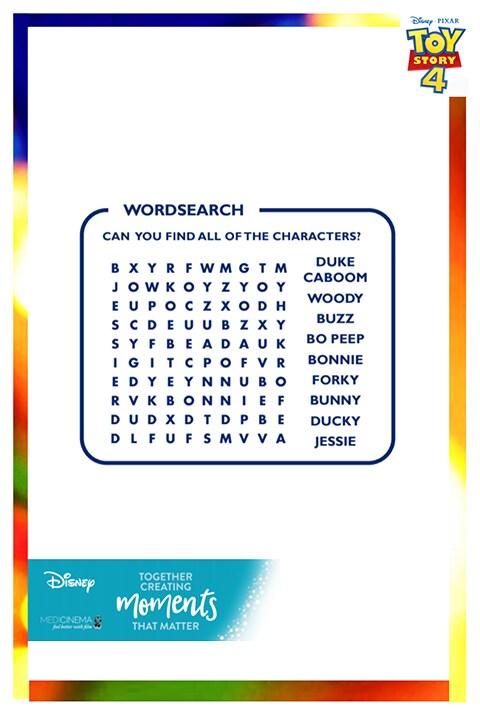 Toy Story - Medi Cinema - Wordsearch