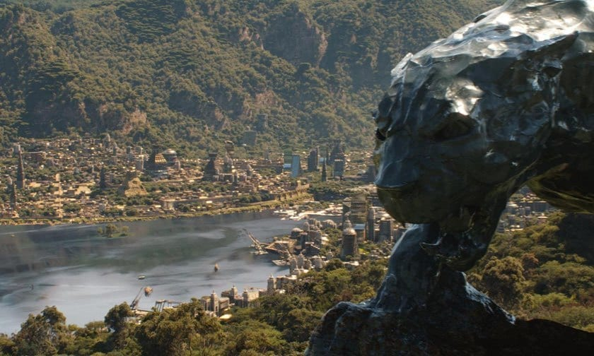 An image of the Black Panther statue in Wakanda
