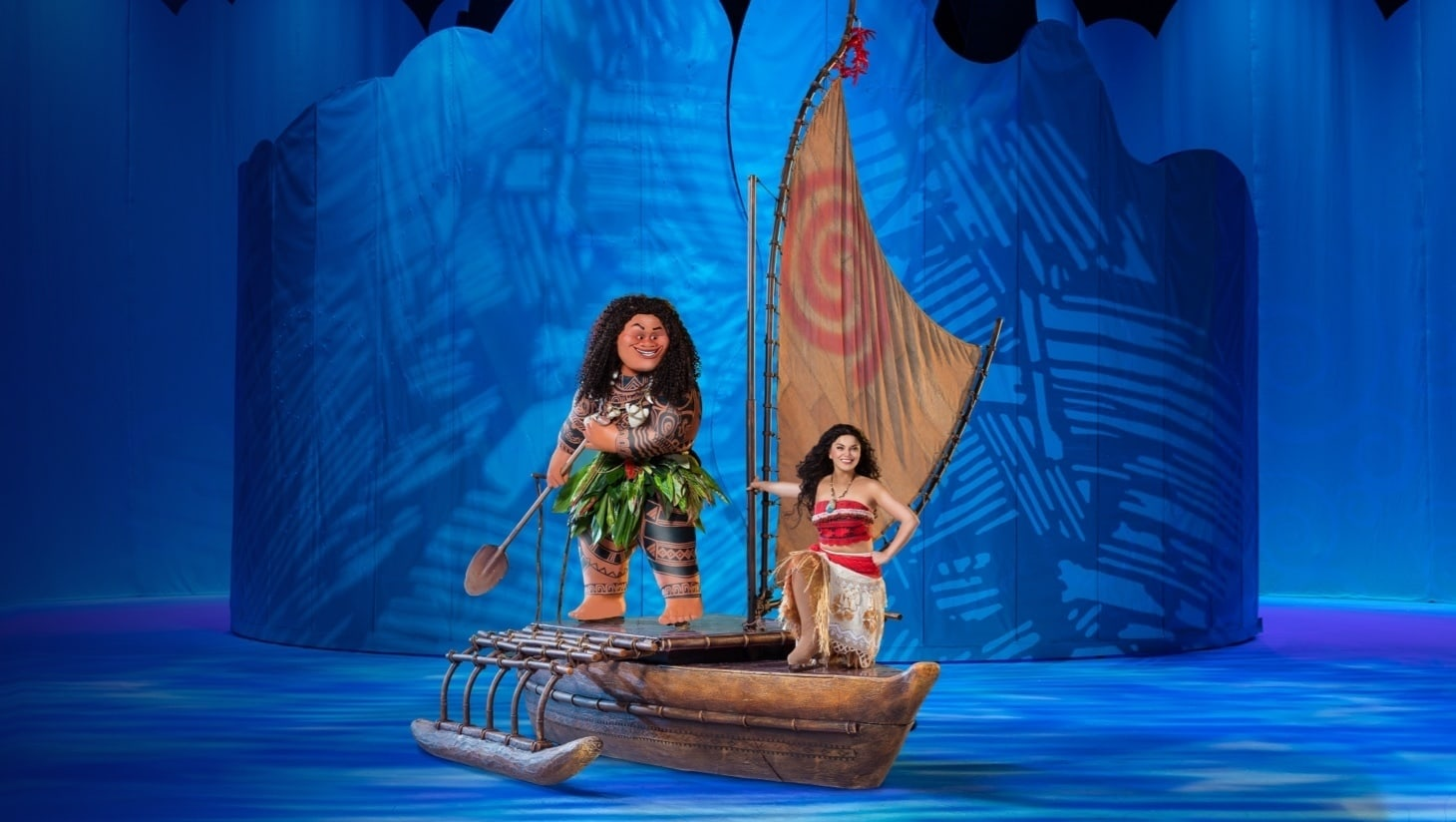 Maui and Moana performing on a boat in Disney On Ice