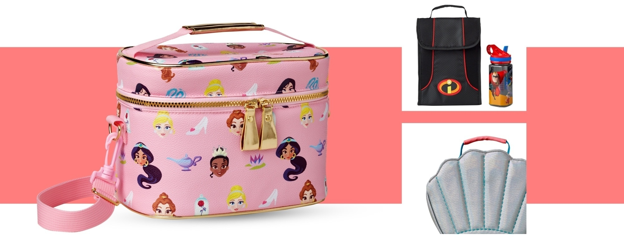 Disney Princess lunch case, Incredibles 2 lunch bag, Little Mermaid lunch bag
