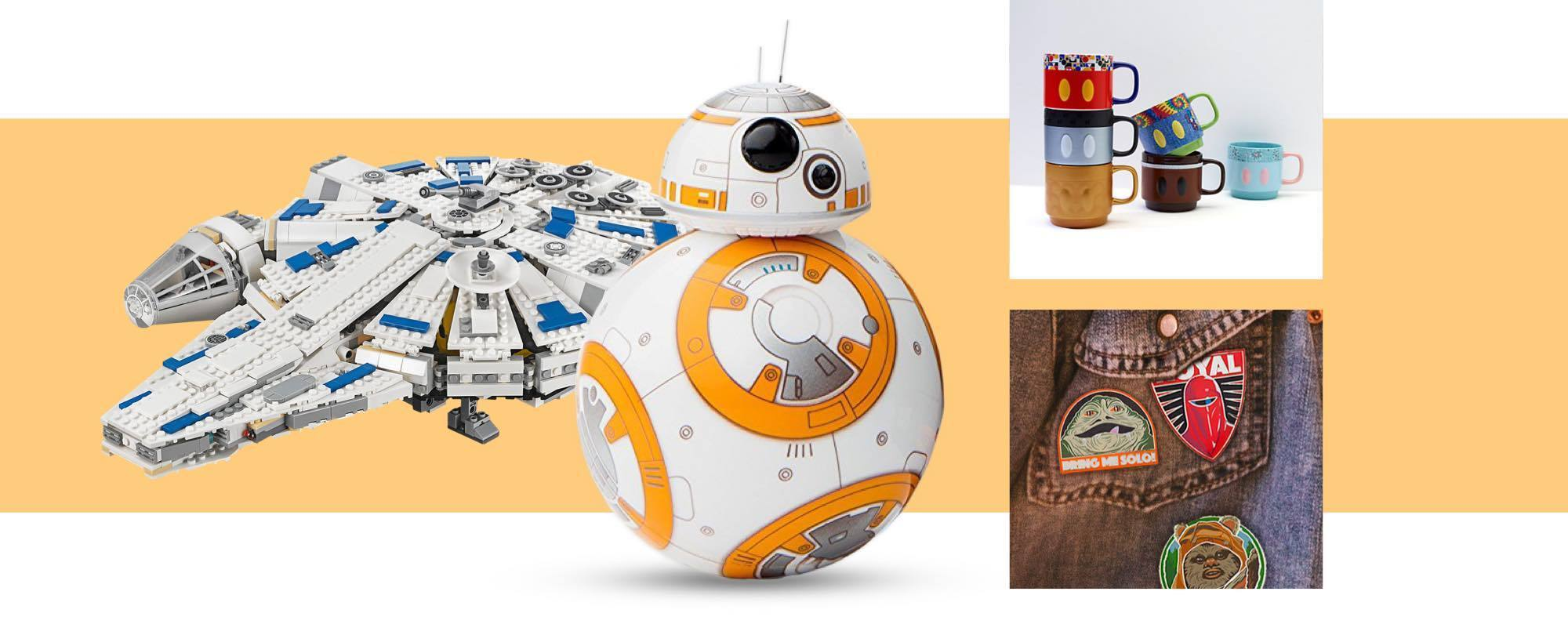 Lego Millennium Falcon, BB-8 Droid, Mickey Mouse mugs, Star Wars patches