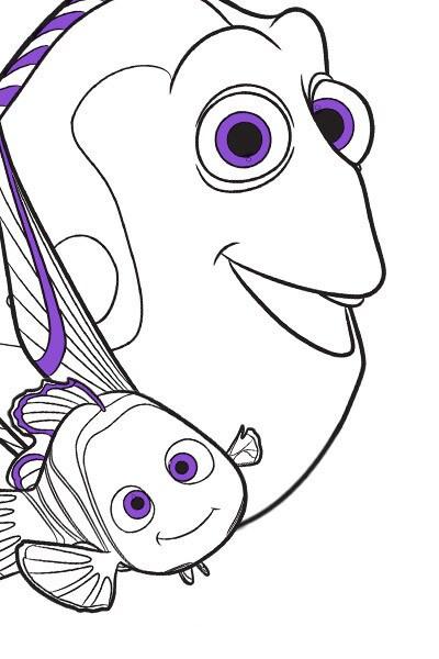 Página para Pintar do Marlin, do Nemo e da Dory