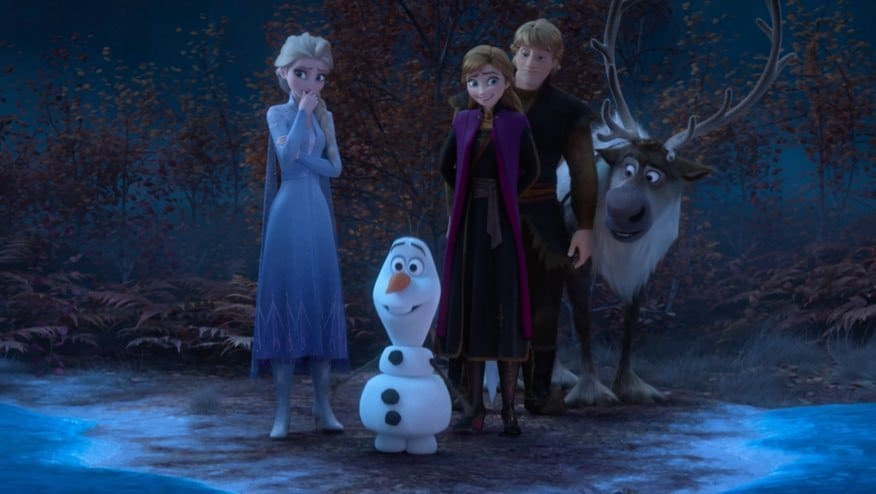 Elsa, Olaf, Anna, Kristoff and Sven in a dark forrest