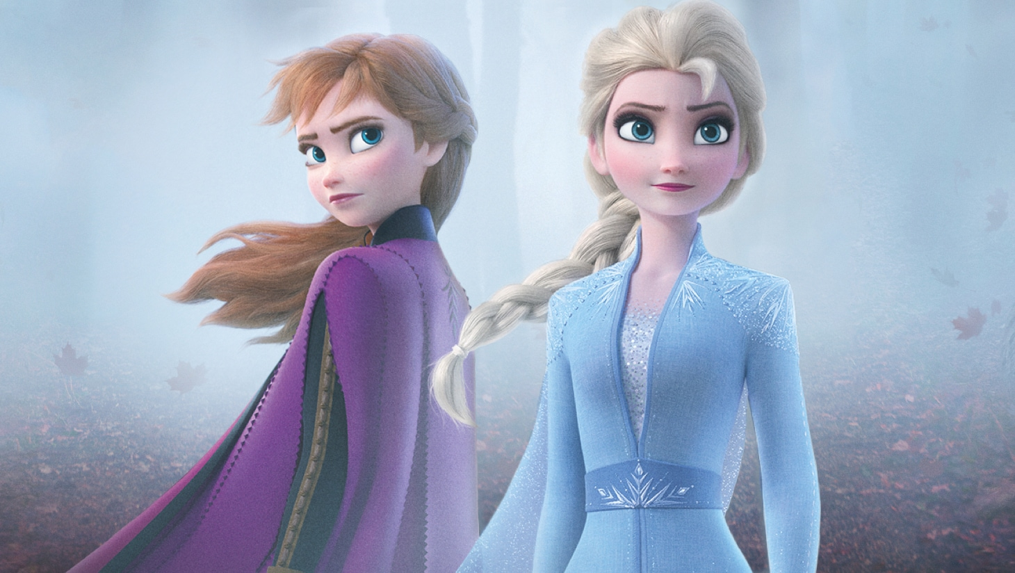 Anna and Elsa standing in a misty wood