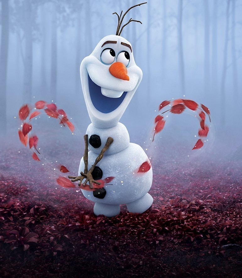 Olaf from Frozen 2 playing with leaves