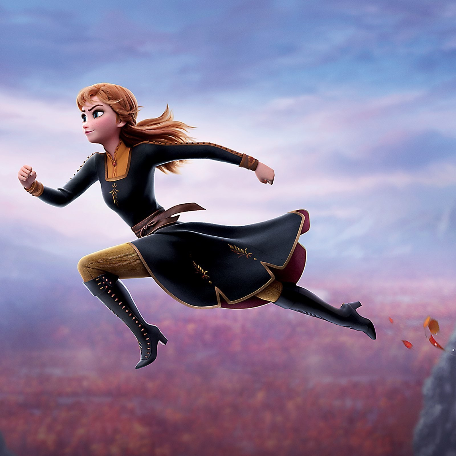 Anna from Frozen jumping over a ravine
