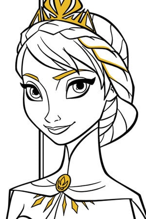 Elsa Coronation Colouring Page