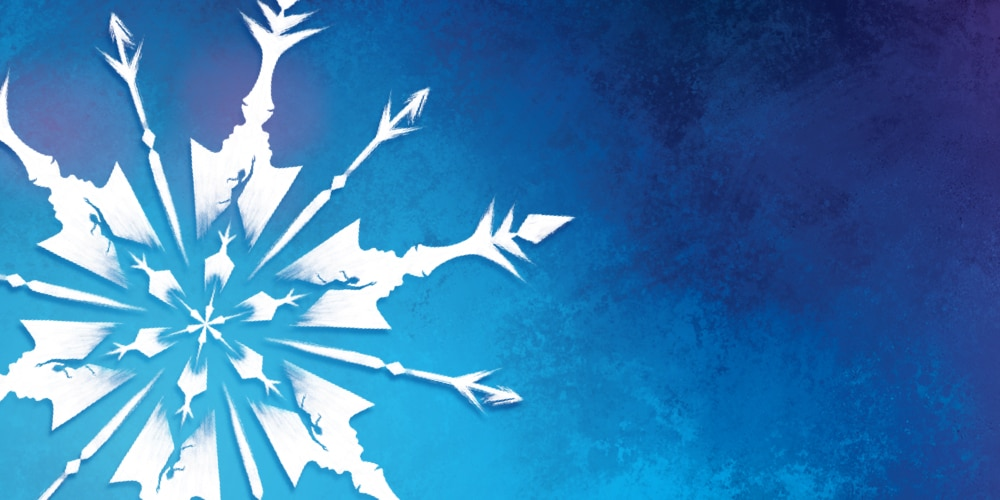 A close up of a snowflake with a blue gradient background