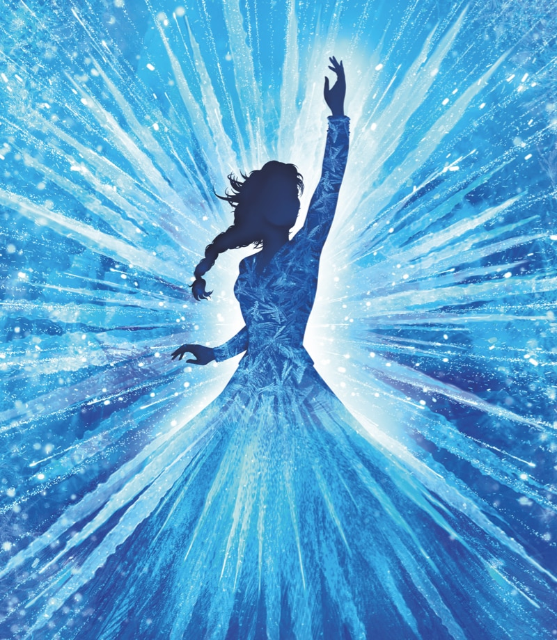 A silhouette of Elsa holding her arm up, with crystals forming around her