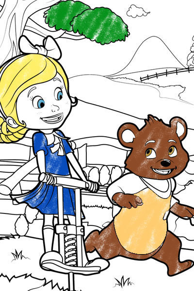 Goldie & Bear - Skipping Along Colouring Page