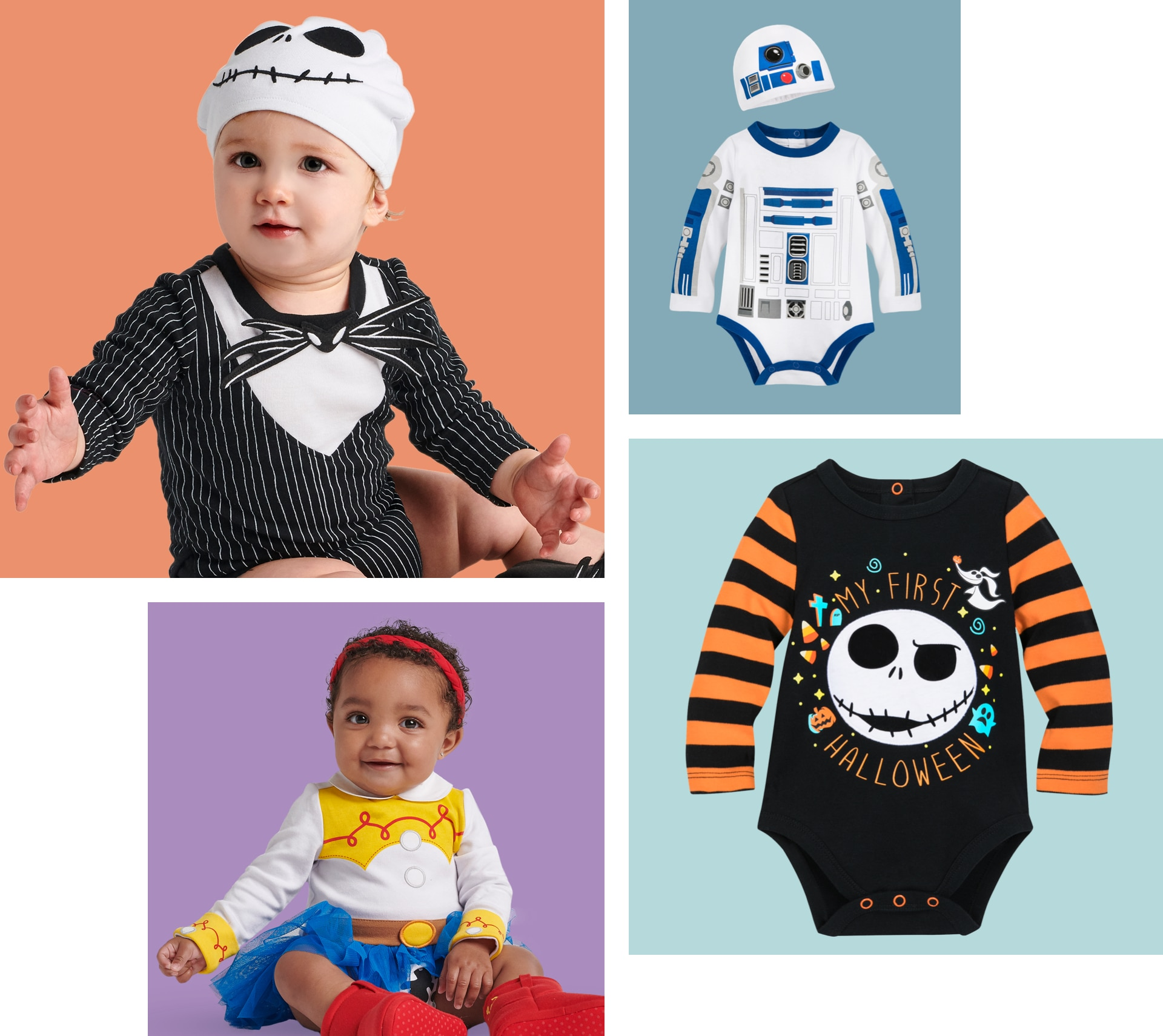 A selection of Halloween products available for kids at shopDisney including a Vampirina dress and Tinkerbell dress