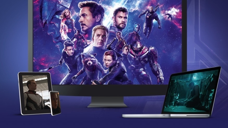 Scenes from Avengers: Endgame showing on various devices