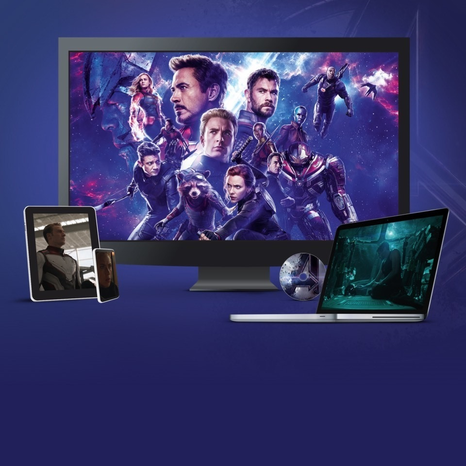 Stills from Avengers: Endgame displayed on a TV, laptop and various devices