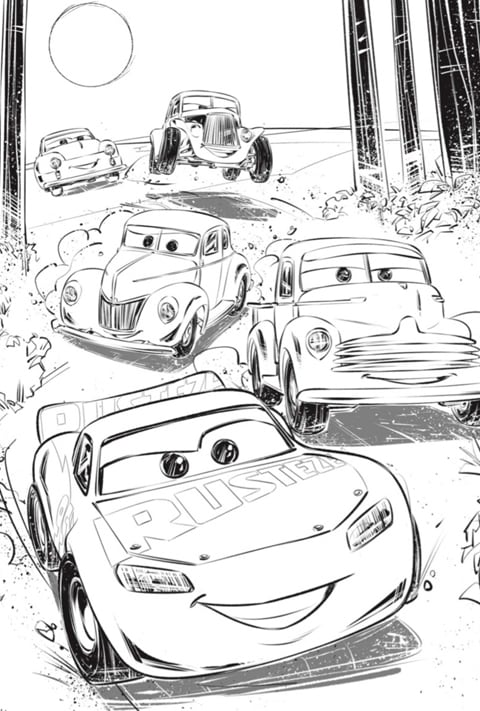 dibujo para colorear de cars