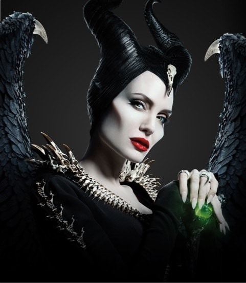 Angelina Jolie in costume as Maleficent in profile