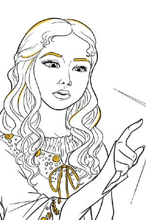 Aurora and Spindle Colouring Page