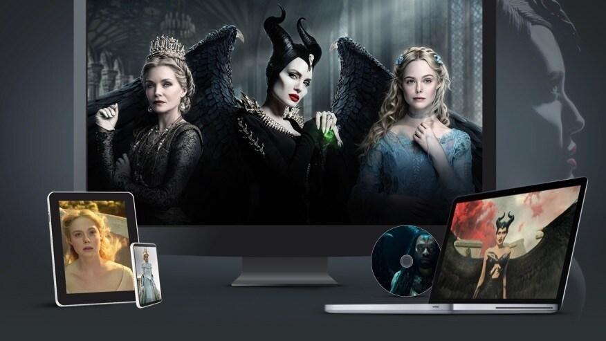Un téléviseur, un ordinateur portable, une tablette, un téléphone portable et un disque affichant des images de Maléfique : Le pouvoir du mal