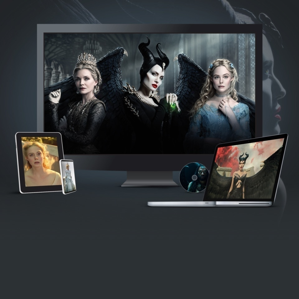 Stills from Maleficent Mistress of Evil displayed on a TV, laptop and various devices