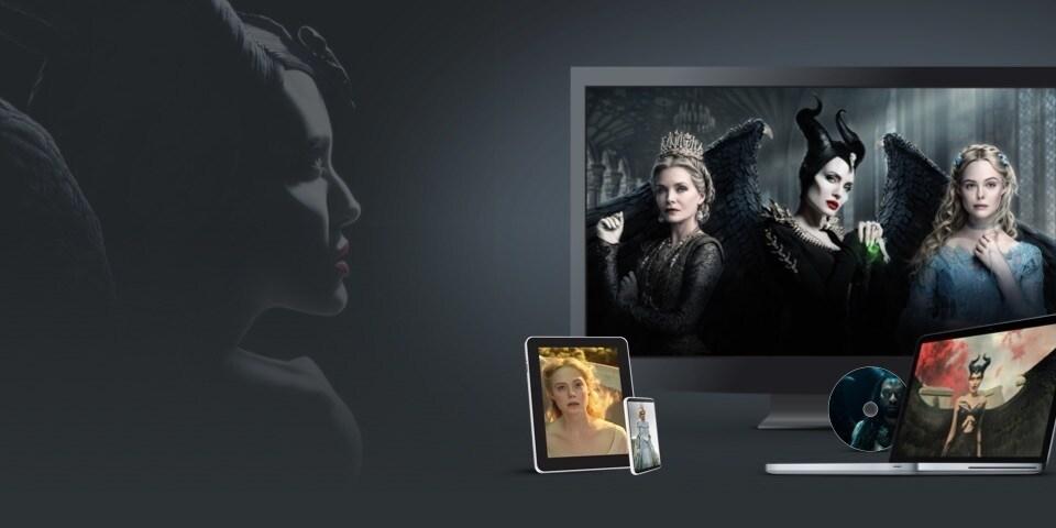 Bilder fra Maleficent: Mistress of Evil vist på en TV, laptop, nettbrett, mobil og DVD