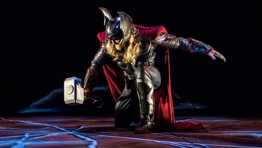 Thor on stage performing at Marvel Season of Super Heroes.
