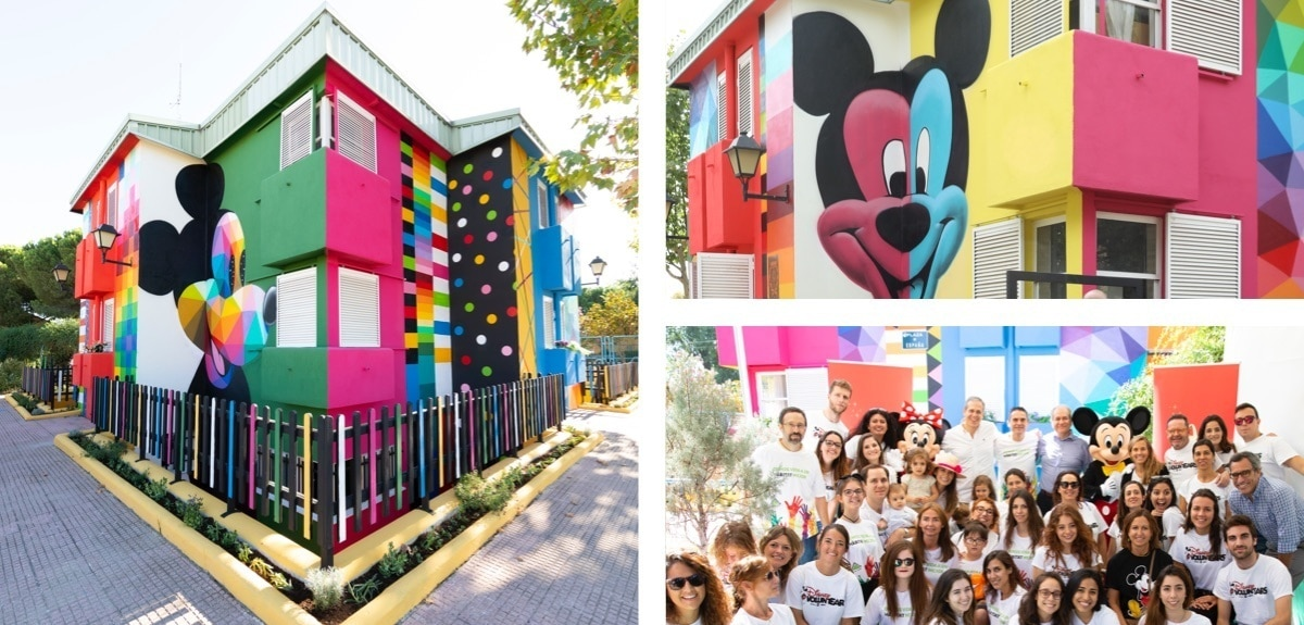Ciudad Escuela Muchachos shelter in Spain decorated to celebrate Mickey