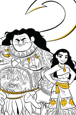 Moana & Maui Colouring Page