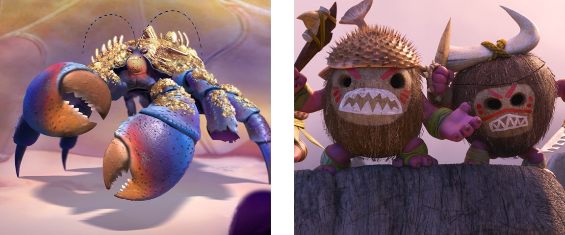 Tamatoa in Lalotai and The Kakamora standing on top of a rock