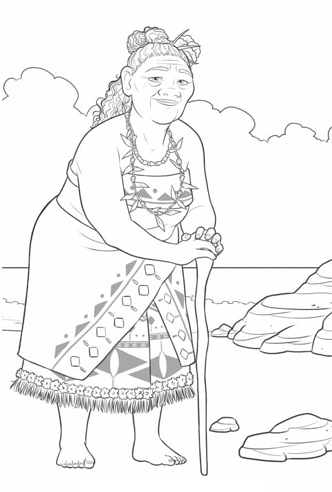Moana - Moana Gramdma Tala Colouring sheet