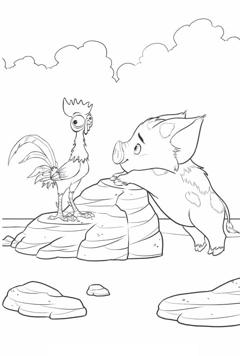 Moana - Hei Hei and Pua Colouring sheet