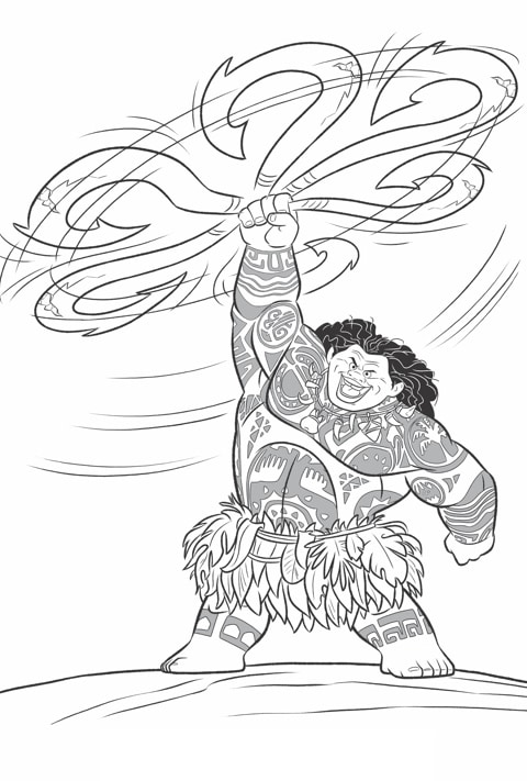 Moana - Maui Colouring sheet