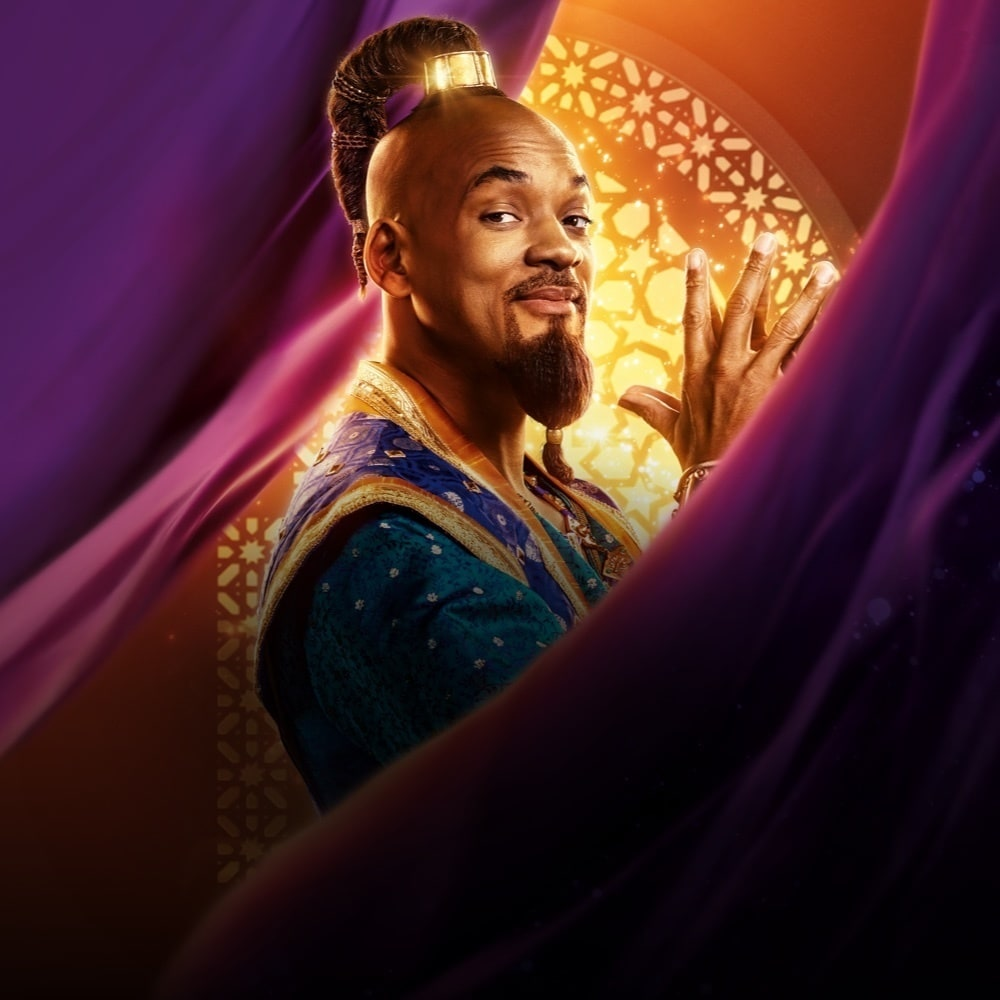 Will Smith in costume as The Genie